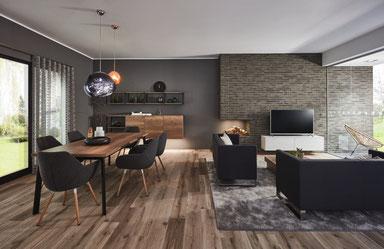 cuisine intérieur design toulouse living bois et blanc moderne tendance contemporaine chic