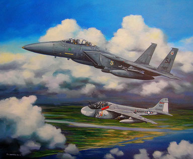 """F-15 and A-6"" - Custom Painting by Jack Connelly"