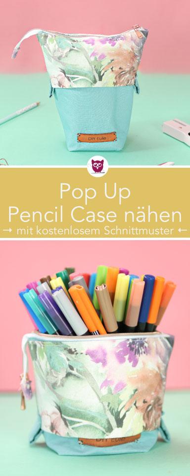 [Werbung] Pop up pencil case nähen mit kostenlosem Schnittmuster. Federtasche für 50 Stifte. Hochkant Schlamperrolle zum Herunterziehen. Nähanleitung auch für Anfänger von DIY Eule. Perfekte Geschenkidee:  Stiftemäppchen.