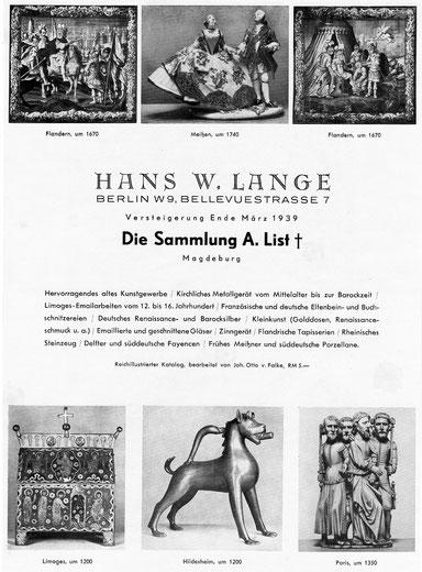 Annonce Versteigerung Hans W. Lange Berlin 1939 Sammlung Adolf List Magdeburg