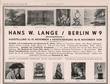 Versteigerung Sammlung Viktor Bloch Wien Hans W. Lange Berlin 1938