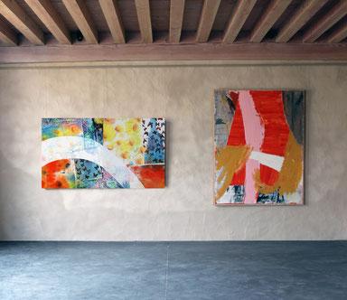 Présentation des oeuvres de Riffis et Valera dans les superbes salles d'expositions du Château Livran dans le médoc