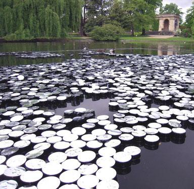 L'eau porte ici l'art de Laurent Valera au Jardin Public de Bordeaux. Tournant dans la perception de l'artiste, cette installation l'amènera à focaliser sur l'élément eau.