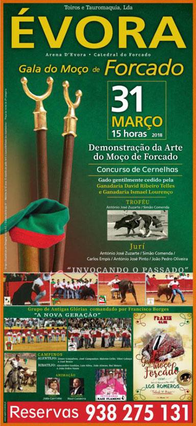 Gala do Moço de Forcado,  Aposento da Chamusca dupla de Cernelheiros João Saraiva & Frederico Gomes de Abreu 31 de Março - Évora