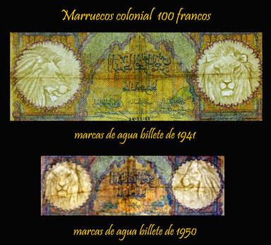 Marruecos colonial 100 francos 1941 vs. 100 francos 1950 marcas de agua