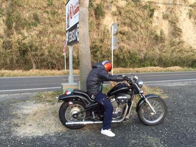 海上がりにバイクでさっそうと帰るK5さん!風邪引かないでね~
