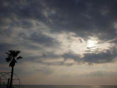 今日は雲多く沖が霞んでいます。