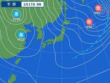 気になる日曜の天気図。