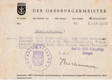 Historisches Dokument: Bestätigung der Stadt Solingen vom 13.10.1945 über den Status von Hanns Heinen als freier Schriftsteller