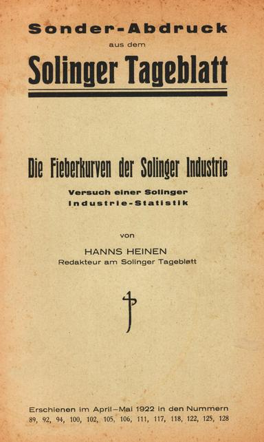 Hanns Heinen – Die Fieberkurven der Solinger Industrie, 1922