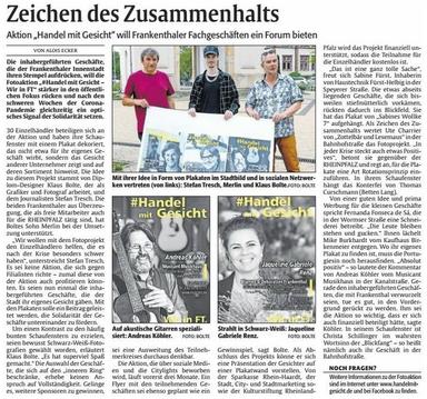 Rheinpfalz Frankenthal, 01.06.2020 (Mit freundlicher Genehmigung)