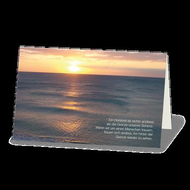 Trauerkarte Motiv Sonnenuntergang am Meer