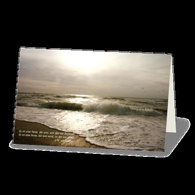 Trauerkarte Brandung am Meer, Strand und Meer in der Abendsonne.