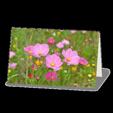 Trauerkarte Blumenwiese, zarte rosa Blüten