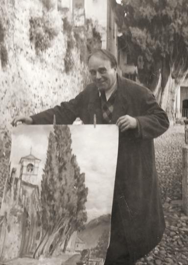 Erwin Bowien beim Malen in Brissago, 1948