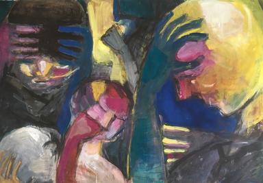 In Gedanken II, Acryl auf Papier, 2017