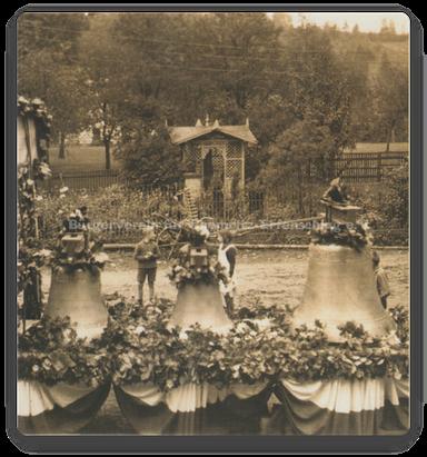 Vorbereitung für den Festumzug zur Glockenweihe, Stiefelmühle 1930