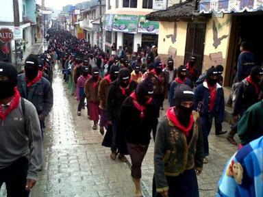 Zapatisternes march gennem Chiapas med 40.000 deltagere. December 2012