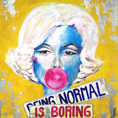 """being normal is boring"", 2013, acrylic on canvas, 80x80"