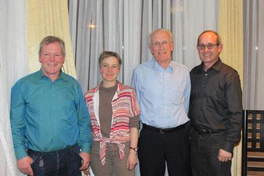 Aktiv an der HV der CVP Uzwil: Von links Benno Gmür, Präsident; Susanne Wick Gähwiler, Kassierin; Armin Benz, Aktuar; Bruno Cozzio, wieder gewählter Kantonsrat.