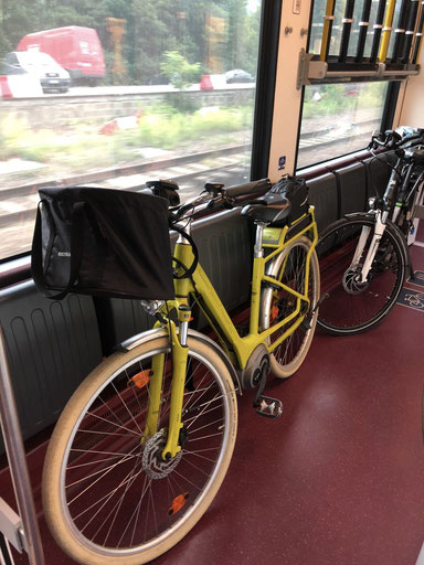 "Our ""easy"" & very fun e-bikes in the train from Brixen to Innichen"