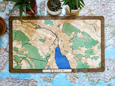Zürich 3D Woodmap Design Holzkarte Wood Map Gravur Laser dreidimensional Stadtkarte Geschenk