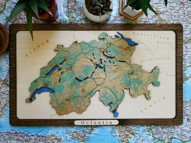 Design 3D Landkarte Schweiz aus Holz dreiminensional Wood Map Holzkarte