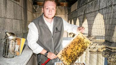 Jung-Imker Raffael Lukaszczyk bleibt ganz ruhig, wenn er seine Bienen in etwa zehn Metern Höhe besucht. (Foto: Stefan Arend / Funke Foto Services)