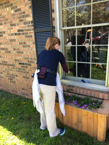 Residential storm window cleaning in Lexington, Kentucky.