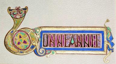 Miniature insulaire, feuille d'or, lapis lazuli, malachite, nerprun. Création Or-et-Caracteres