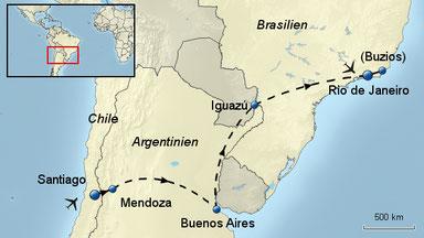 Bitte Karte anklicken für das ausführliche Rundreisen-Programm 2018 Südamerika Rundreise wird von einem erfahrenen Reisearzt (ärztlich) begeleitet