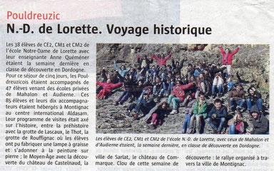 séjour d'une école de Bretagne au CIS Montignac-Lascaux