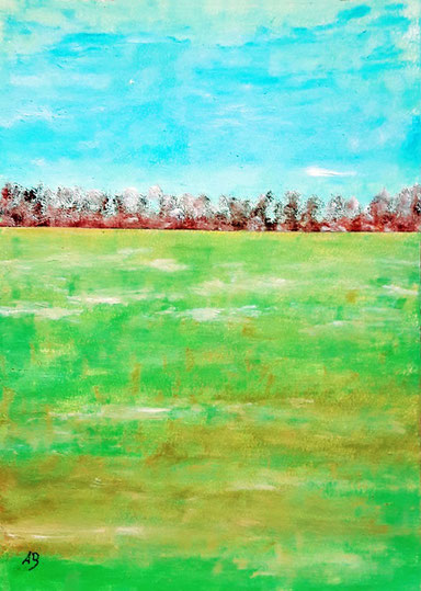 Feldlandschaft-Original Ölgemälde, Landschaftsbild, Bäume, Wald, Feld, Wiese, Blumen, Himmel, Ölmalerei, Ölbild, Landscape