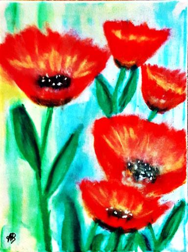 Mohnblumen, Pastellgemälde, Mohnblüten, Blumen, Natur, Stillleben, Pflanzen, Pastellbild, Pastellmalerei, Poppies Painting, Flowers