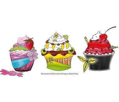 3 cupcakes fruités illustrés par l'illustratrice Cloé Perrotin pour l'artiste peintre Peggy Jeannot
