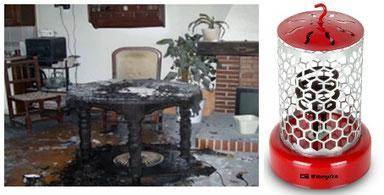 Mesa camilla quemada y posible solución para evitarlo
