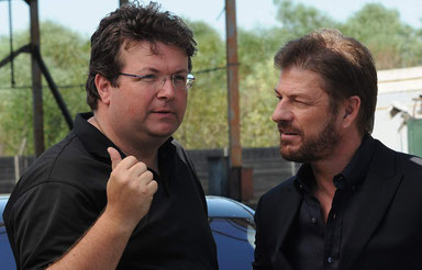 ©Roel Reine mit Sean Bean am Set von Death Race 2