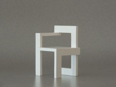 Steltman Stuhl, weiße Miniatur, aus der Reihe meiner Miniaturstühle, die ich selbst gebaut habe, somit Eigenbau