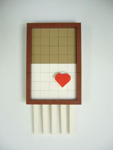 Artist: EL EGO / Titel: Banksy (rot), Girl with balloon. / Lego, 20 x 9,5 x 1,5 cm