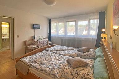 Grossräumige Suite mit Doppelbett, Badewanne, Fernseher und Zubehör