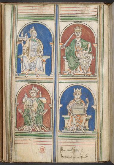 Abbrevatio Chronicorum. Die englischen König Heinrich II, Richard I. Löwenherz, Heinrich III., Johann Ohneland