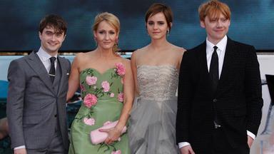 J.K. Rowling amb els protagonistes de la saga a l'estrena de la darrera pel·lícula
