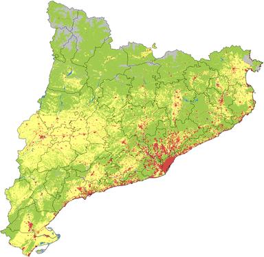 Mapa de usos de suelo de Cataluña. El color amarillo representa la superficie cultivada y el rojo las zonas urbanas.