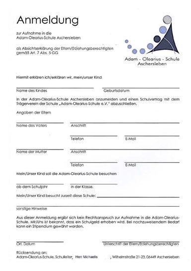 Anmeldeformular AOS - Adam-Olearius-Schule