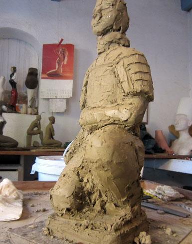 guerrier chinois 2 sculpture argile nouveausculpteur