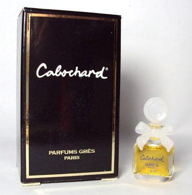 CABOCHARD - PARFUM : PETITE MINIATURE DE 1,8 ML - BOUCHON ET NOEUD EN PLASTIQUE BLANC