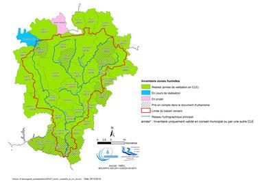 Etat d'avancement des inventaires zones humides