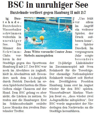 BSC in unruhiger See, Neue Buxtehuder Wochenblatt vom 12.06.2013