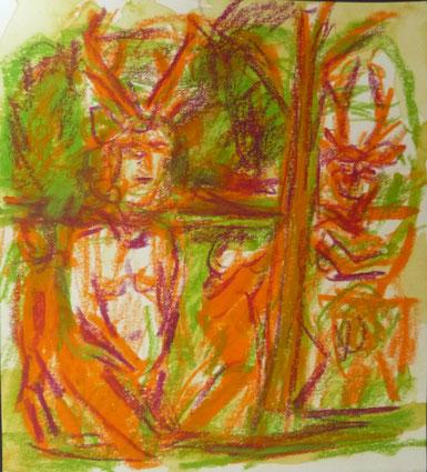 Treff im Wald 13,5 x 12,3 Kreide Papier 2017
