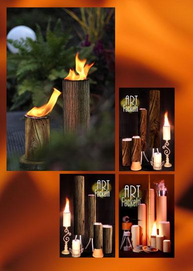 Garten-, Wachsfackel, Fackel-Collage. Brennende Fackeln mit natürlichem Holzdekor im Garten und Darstellung des Sortiments in verschiedenen Arten.